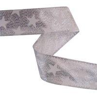 Lint met Draad 25mm - Sterren Lurex Zilver Wit
