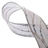 Lint met Draad 25mm - Golven Lurex Wit Zilver Glitter