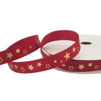 Kerstlint Satijn 10mm (rol 10 meter) - Metallic Ster Donker Rood Goud Glitter